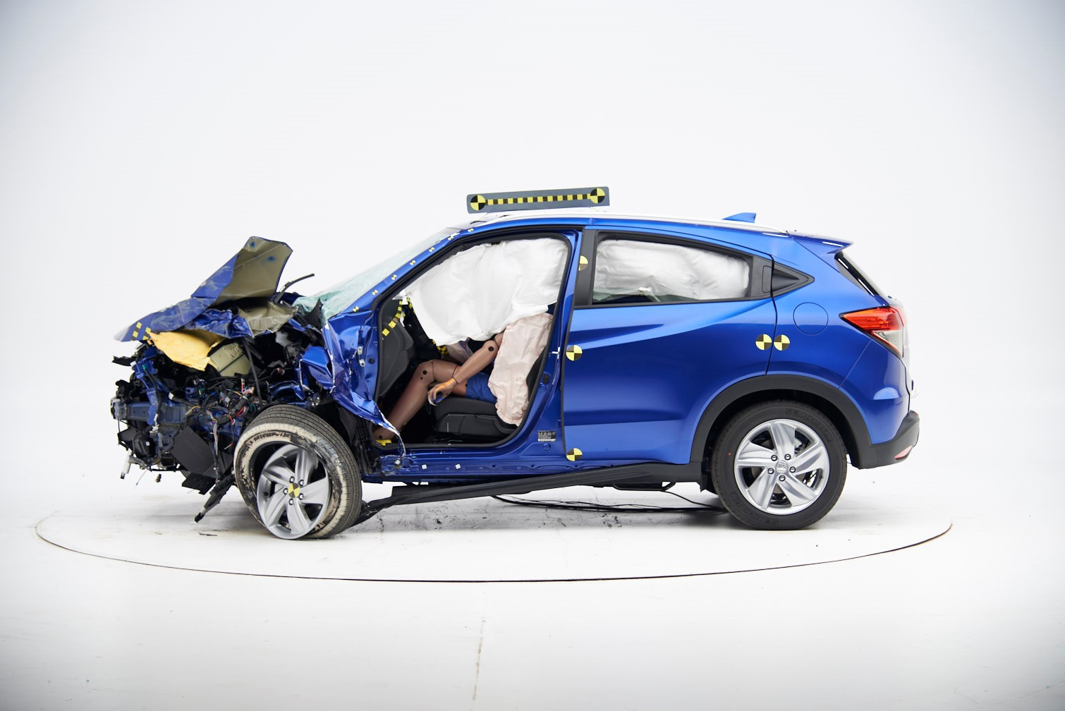 """""""By having a crashed HR-V on display at the New York Auto Show, media and consumers will be able to see first-hand how the HR-V performed in the IIHS test, with dramatic, real-world visuals to showcase our safety rating leadership and our commitment to Safety for Everyone."""""""