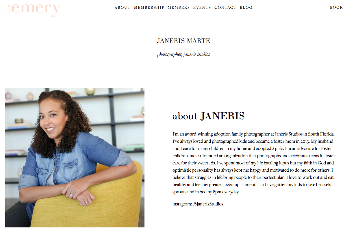 Janeris Marte interviewed by The Emery in Hallandale, FL. She speaks about her love for children and why she decided to photograph adoptions in Miami. She is the leading Adoption Photographer in Miami. Her style: Modern Family Photography. She focuses on creating wall art and albums for families.