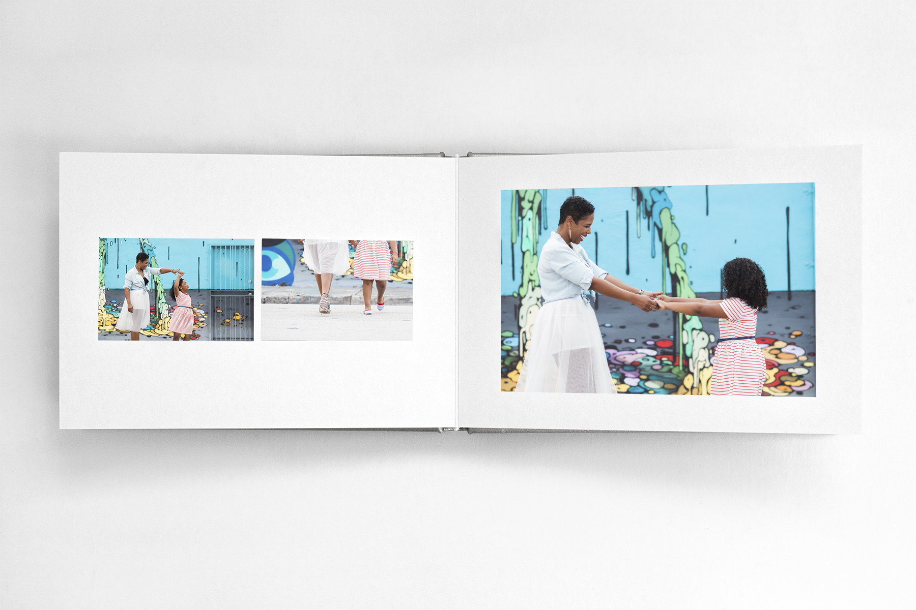 Family portraits in miami-wynwood made into an album of family memories.