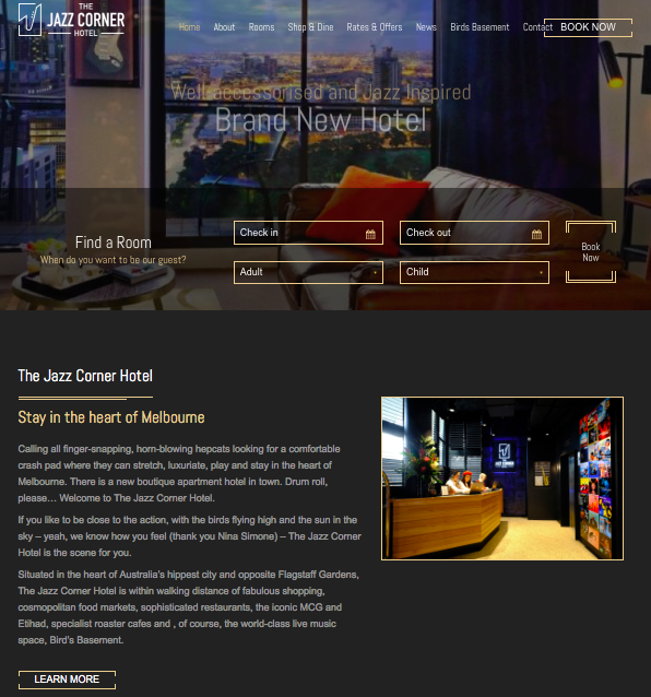 Website - Clean yet stylish with a touch of interactive elementsDefinitely will appeal to their target market and the website did a splendid job of presenting brand elements with the darker yet striker colourful tones. I love the images which align with the hotel's concept and well done for the hotel to place a considerable effort to manage their website content.