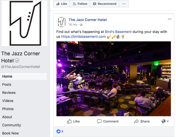 Facebook - Post regularly but not quite there yet...The hotel could improve by incorporating more interesting facts of jazz that people might not know about instead of making its Facebook page like any other business pages.