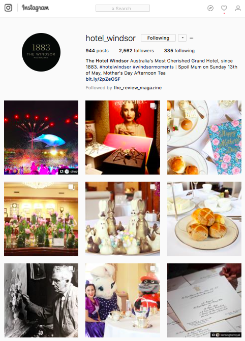 Instagram - Great to see regular posts to engage with their followers, ranging from major events, important historical facts of the hotel, its facade and of course their well-known afternoon tea. Although they generally have a higher count of likes on posts with employees in them such as the International Women's Day post and Parici Women Connect post.