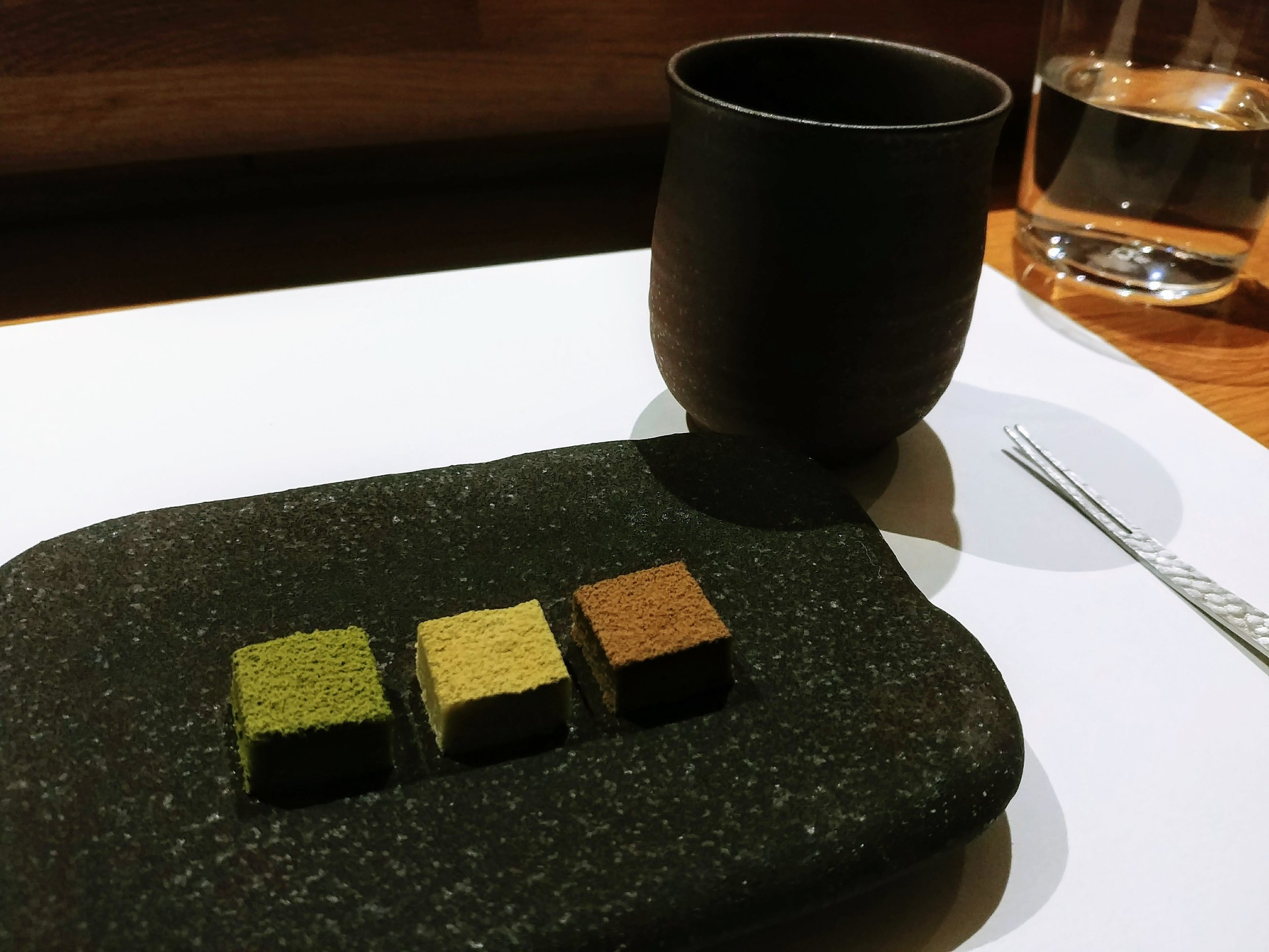 Trio of dessert (matcha/green tea, genmaicha and toasted tea) accompanied by a hot cup of tea - I have to comment that this is the best dessert I have ever tried among all of the sushi omakase experiences even in Japan. It certainly delivers the best ending to a fantastic meal with impactful flavours of tea in different variety. They are sweet yet gentle with slight bitter undertones. If you are a fan of tea, you will go crazy over these little cubes of joy #mytopfavourites