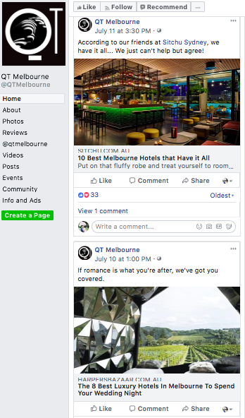 Facebook - A very smart strategy by QT Melbourne which I will be very interested to see if this will be a successful one. They have focused on utilising blogs and articles for their Facebook channel which I have been speculating that it could be the successful strategy in the hotel industry. Well done for being the market leader for this!