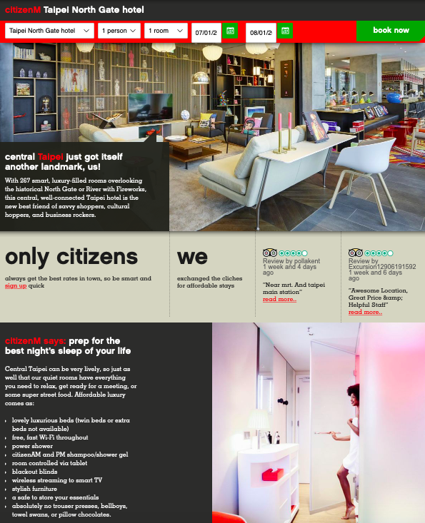Website - First impression: It is funky, straight forward and informative in a way that convinces you to choose to stay with them. A very clever design!