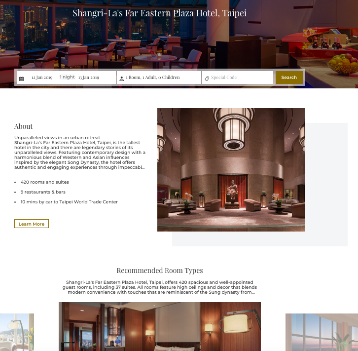 Website - The website works like any other branded hotel's website. Classic, clean and easy to use. I love how the rotating banner showcases images of Taipei 101 view, which is very important since this hotel is the tallest hotel in the city.