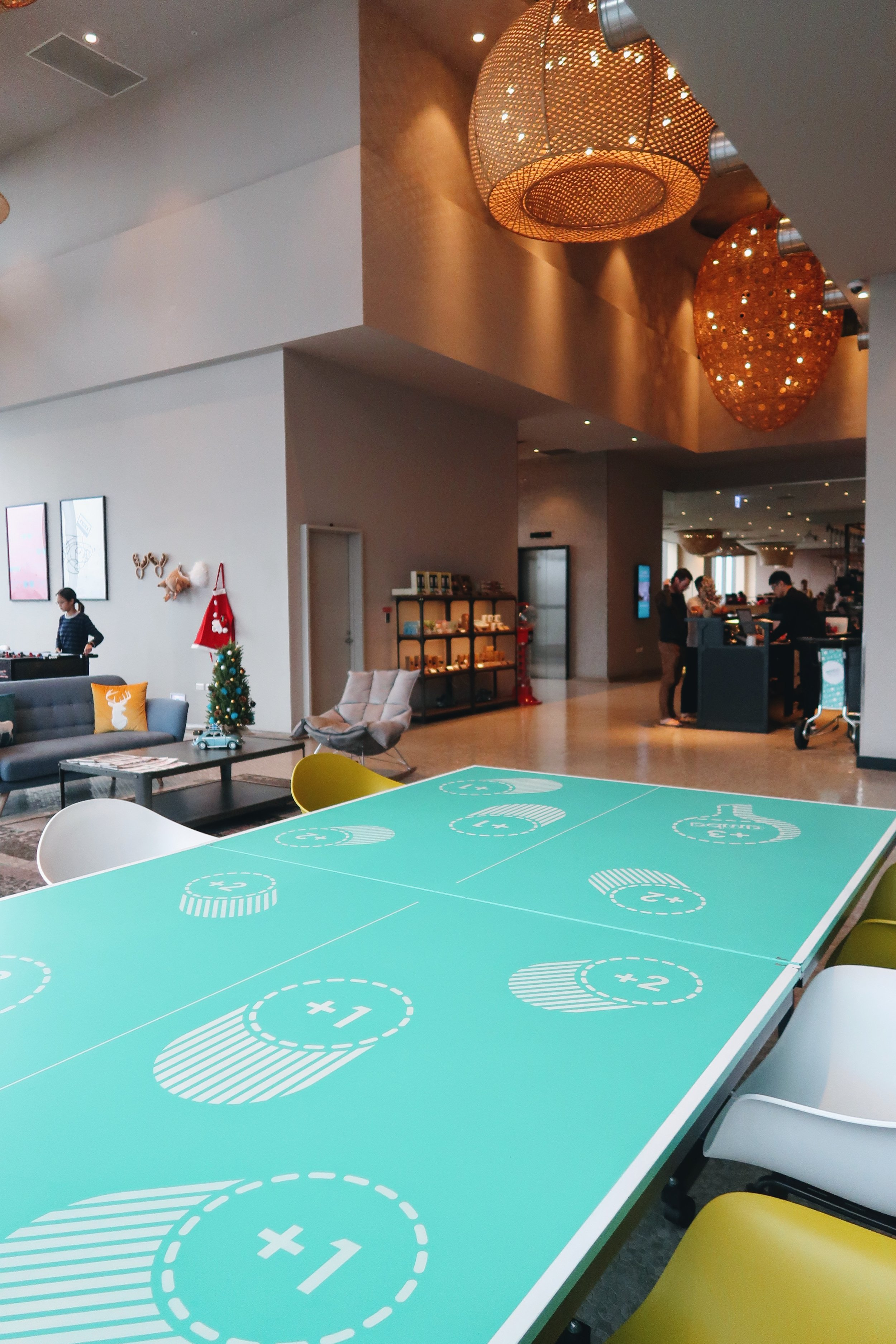 A Ping Pong table for guests to play and also as a table, very cool!