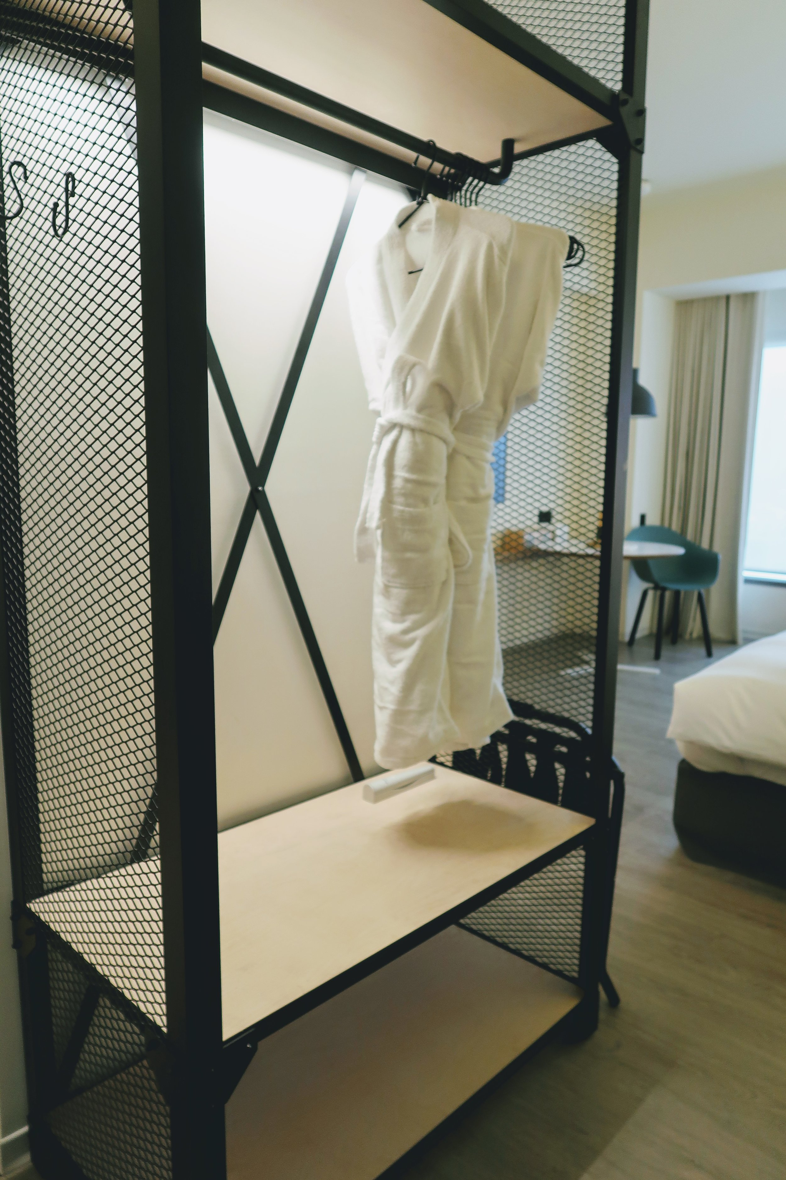 Open wardrobe concept, smart way of using space with a hint of industrial touch.