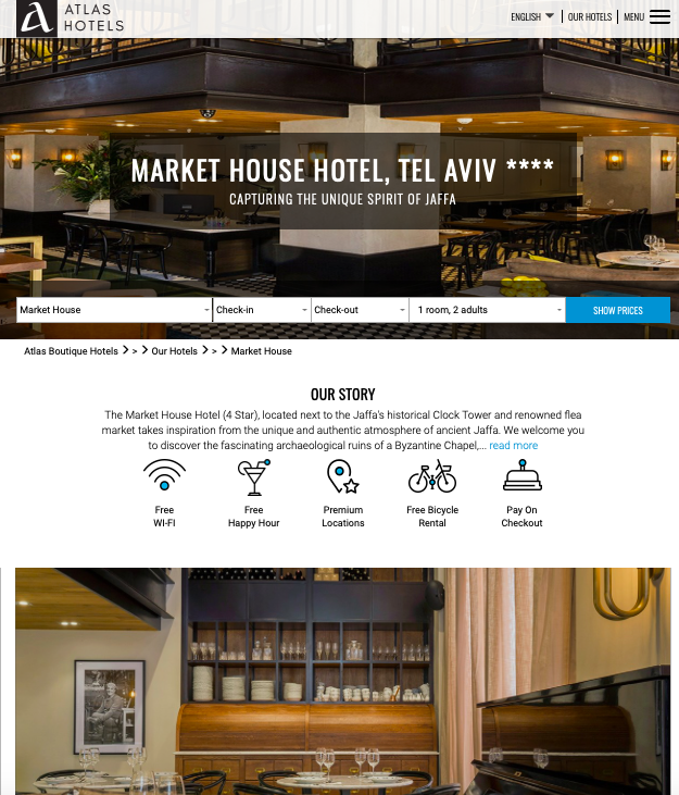 Website - It is simple, easy to navigate and the images are eye-catching. Very well suited and expected for a boutique hotel website.
