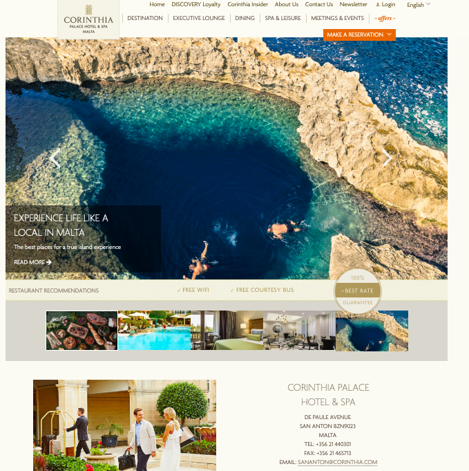 Website - I love how the hotel has caught up to the upcoming trend of website design. It focuses on the use of carousel images and making the website look more like a lifestyle magazine. Very striking and strategic choices of images!