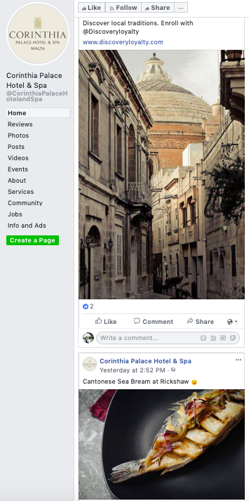Facebook - Even though the images are insta-worthy and the choices are strategically balanced with content about the hotel, Malta (destination) and F&B, there is a lack of engagement since the descriptions are just describing what the image rather than placing questions or initiating opinions in hopes of generating conversation with its followers.