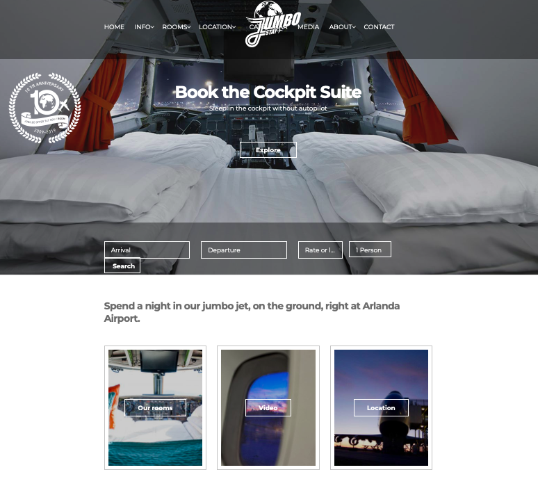 Website - I like how the website portrays a good first brand impression of what the hotel, with a huge hero image carousel, simple and clear navigation, which suggests that this is an accommodation that provides basic necessities but with a touch of modern-ness and unique-ness.
