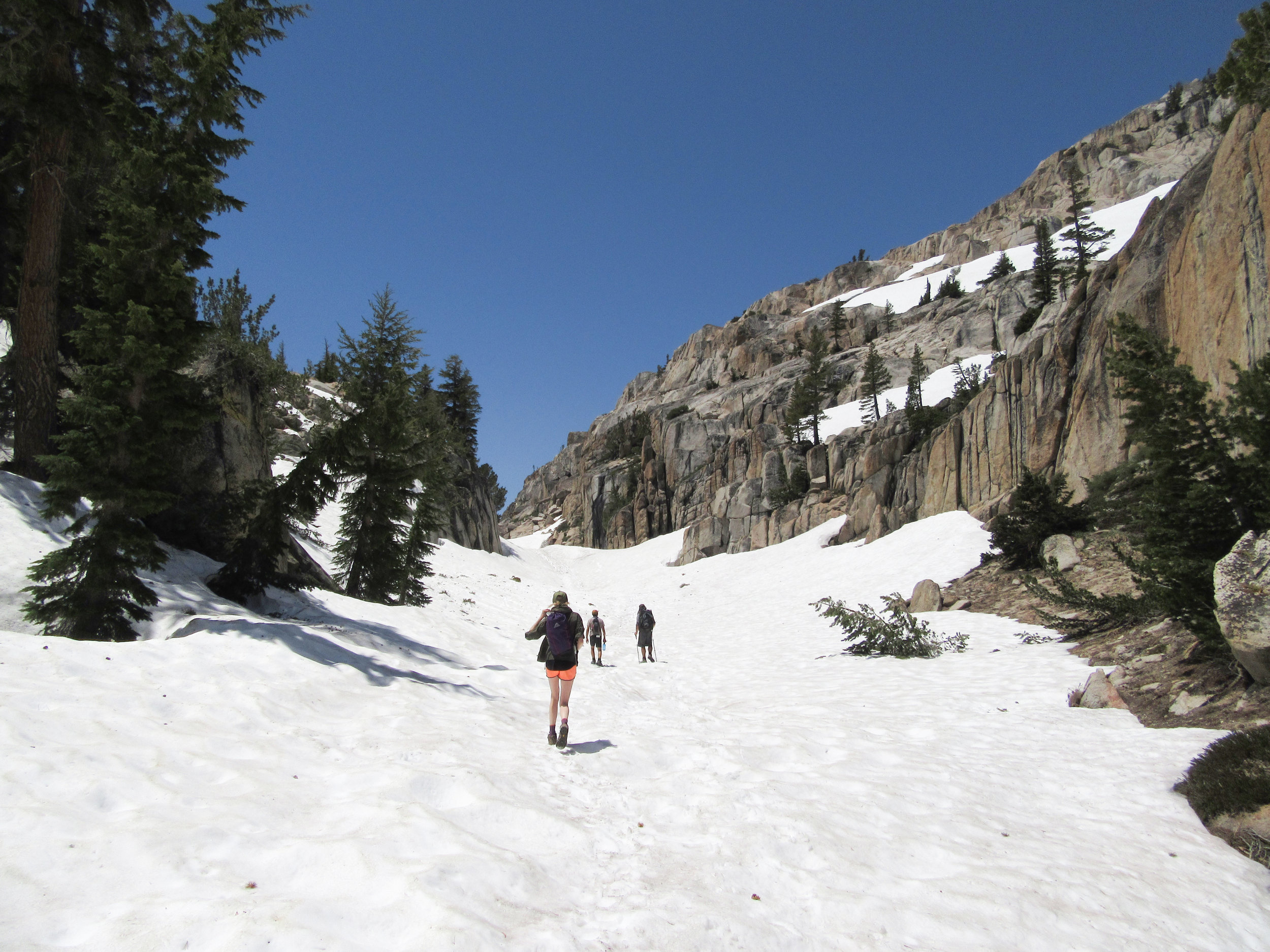 The trail up to Peeler Lake was covered in many feet of snow