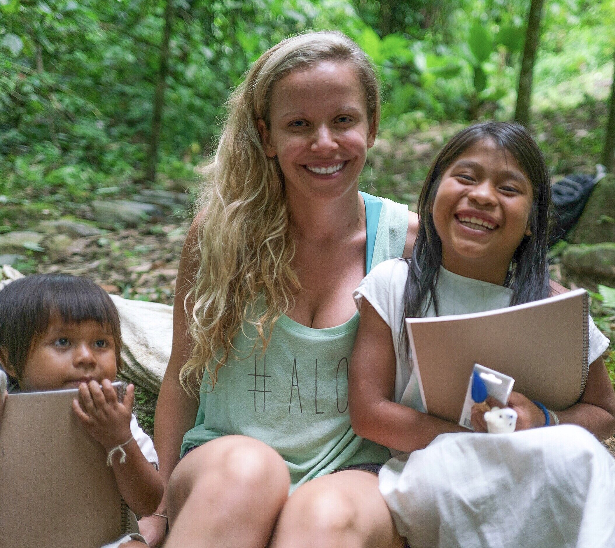 Image of Santiago, Myself and Sandra: two children of the Kogi Tribe in Colombia