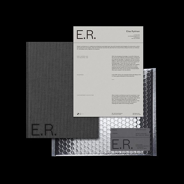 Visual Identity for Architect Elias Rydman, simplicity and sophistication underpinned this project. I don't often work with one font one weight, but felt the simplicity has a place here. . It was great to also design and consider some of the packaging solutions for the project. More to come on this - will hopefully post the full project soon! .  Thanks for looking