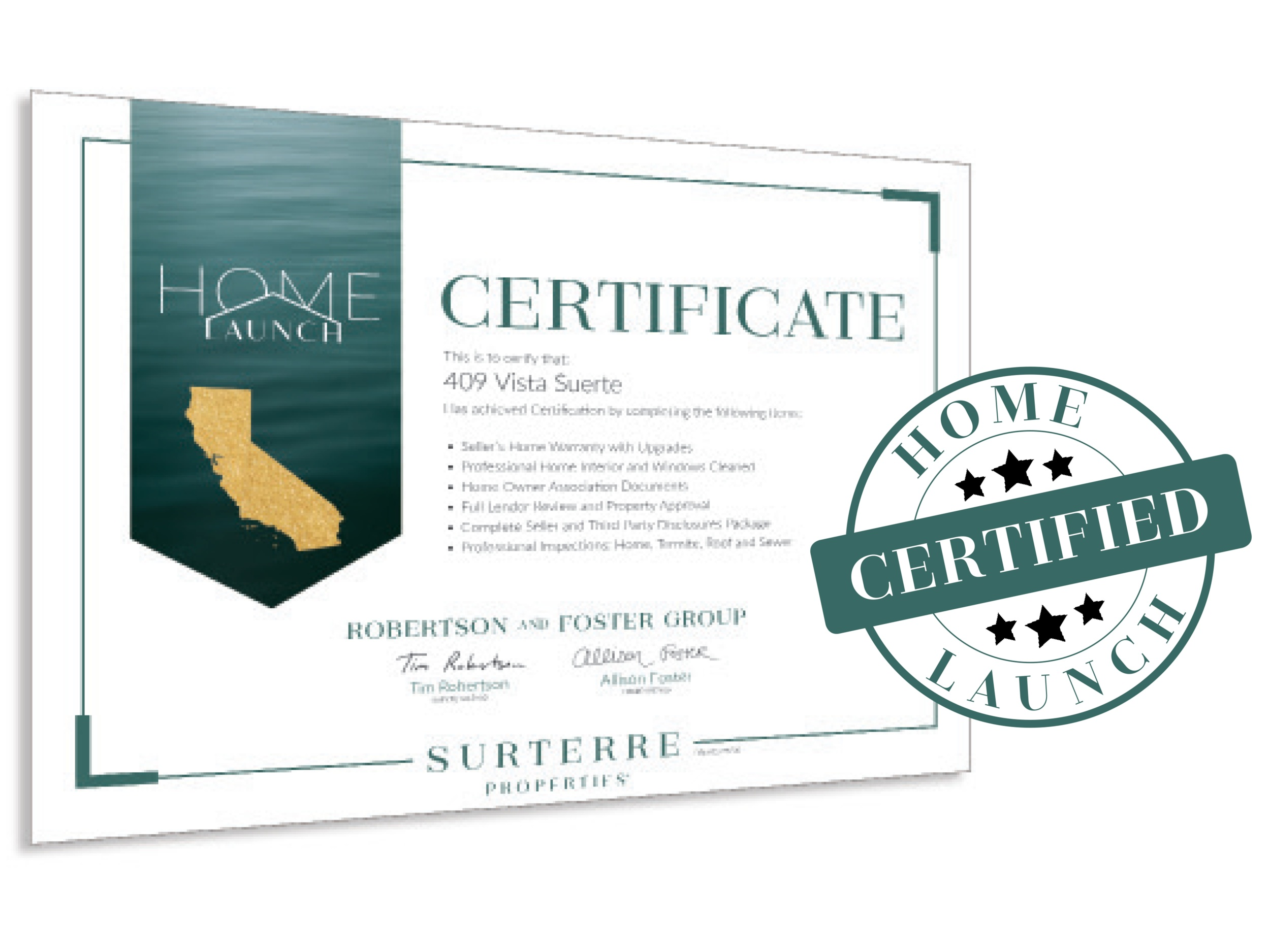 1 CERTIFICATION - Robertson & Foster Group cover up to $2,000 to certify your property.· Warranty· Inspections· Disclosures