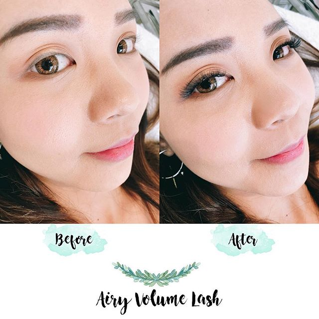 The before and after of our airy volume lash! Want to wake up with naturally beautiful lashes? Book an appointment with us today! . . Lashes by Yumiko . . . First-time customers can get this look at $130 (U.P. $160), call or DM us to make an appointment!  #eyedesign #lashextensions  #gorgeouseyes