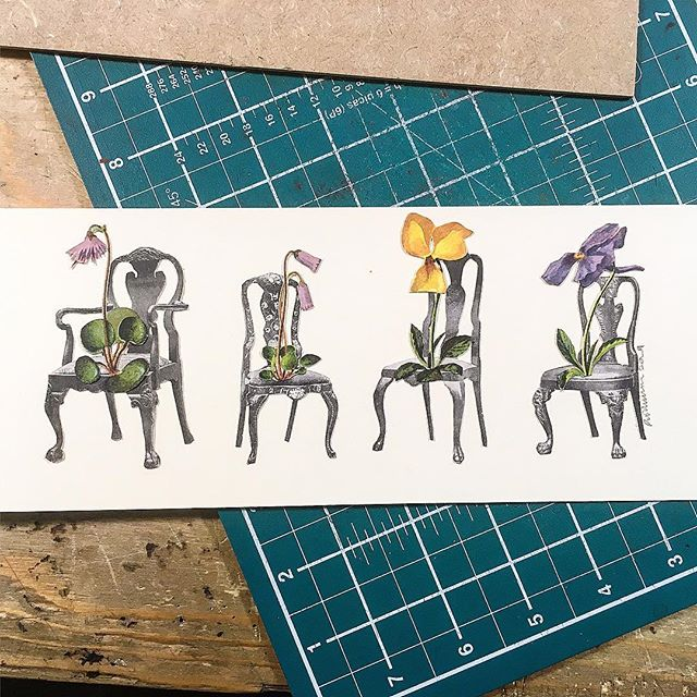 """Salon d'alpine"" a piece I've made for my mums 80th birthday ! Happy birthday mum! Hope she likes it! #salon #alpine #flowers #flora #chairs #vintageseating #birthday #mother #pushkinism #artistsoninstagram #collageart #instalike #cutandpaste #visualart #ECC"