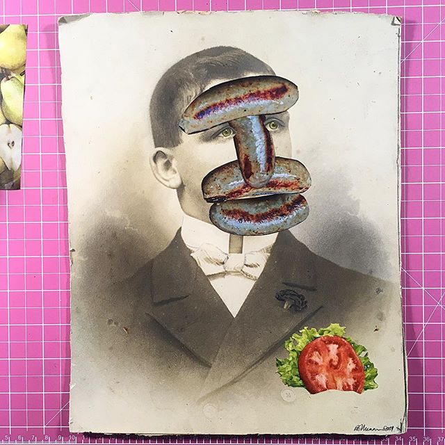 """"""" Master Cumberland was the talk of the town"""" #sausage #pork #meatface #cumberland #foodface #localboy #vintage #oldphoto #blackandwhite #pushkinism #surrealism #art #collage #analogcollage #collageart #cutandpaste #papercollage #visualart #contemporarycollage #collagecommunity #collageoftheday #handmadeart #collagear #collagecollectiveco #c_expo #manualcollage #ECC"""