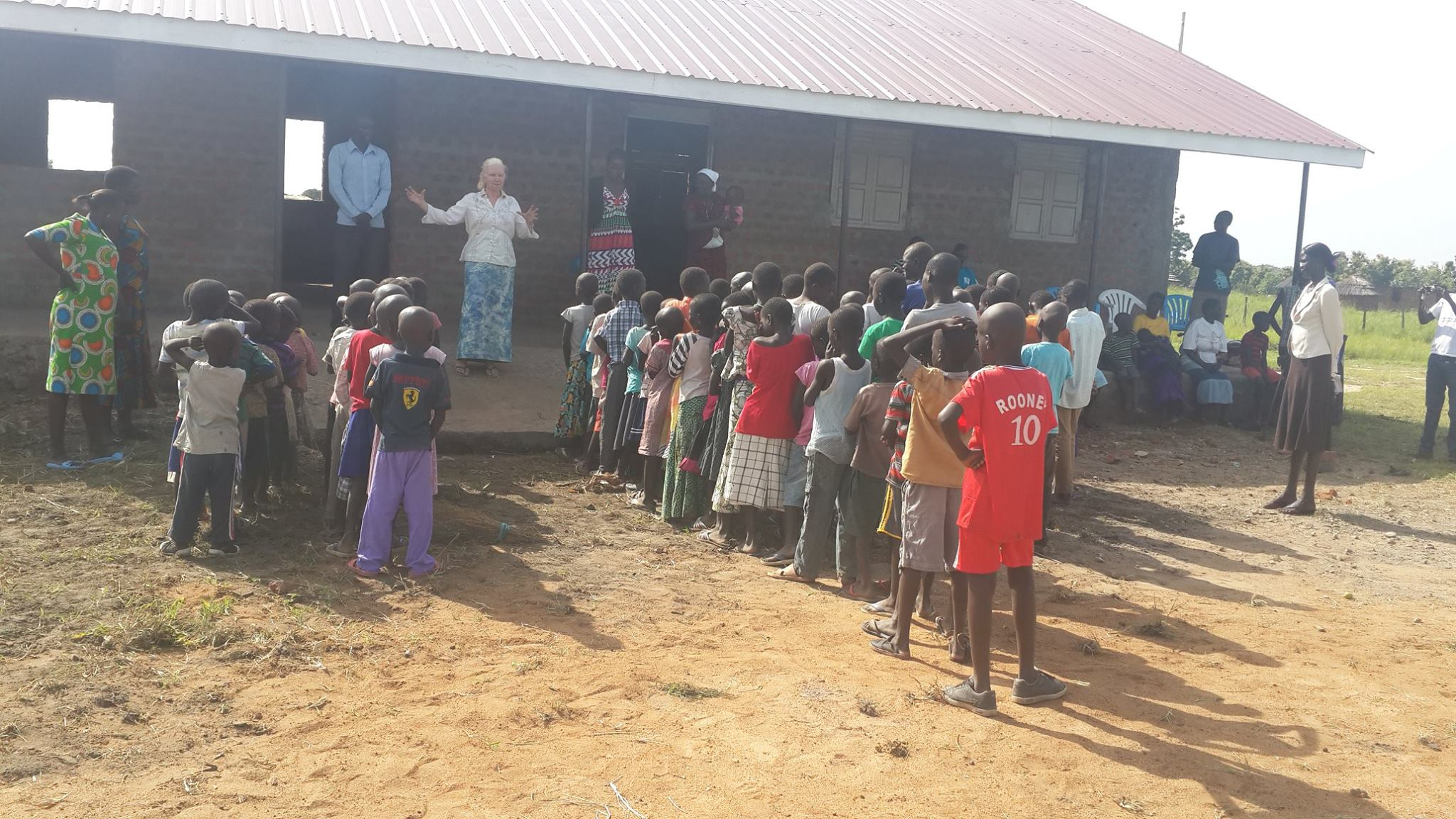 Assembly at the new school block