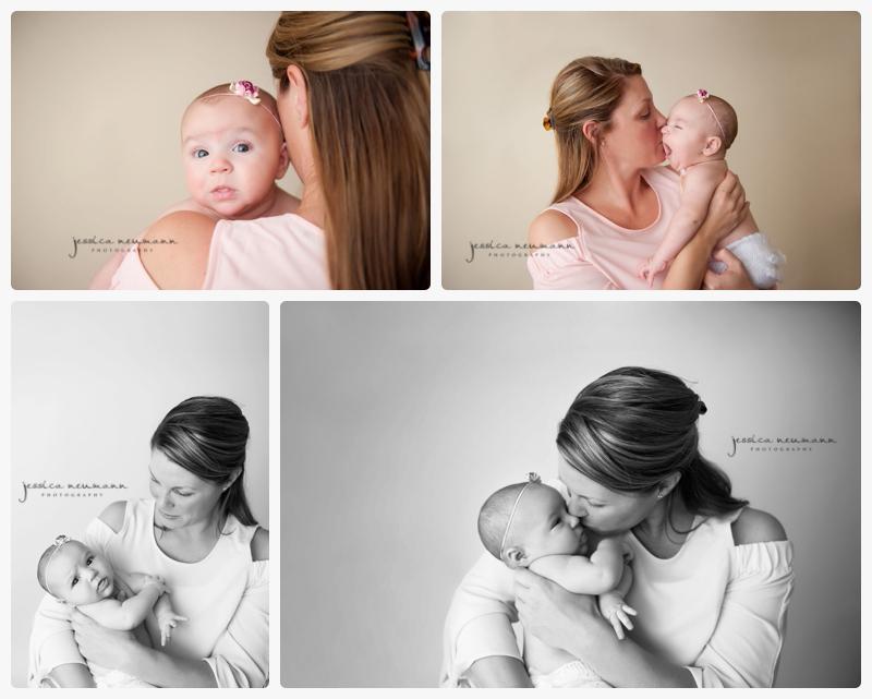 neutral studio newborn with mom