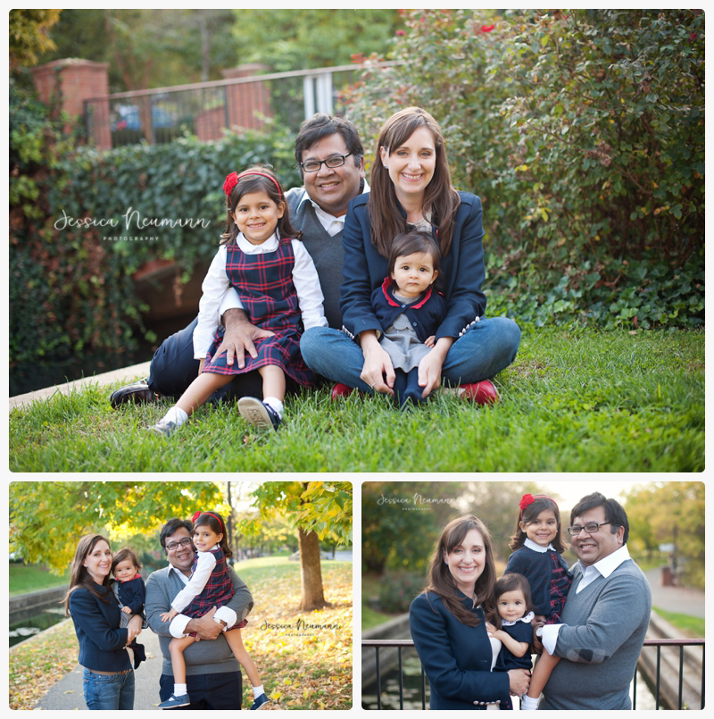 fall family photography in blue and red