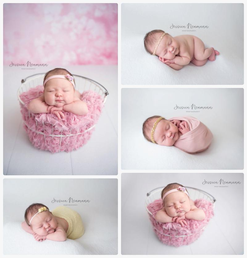 pink and white posed newborn