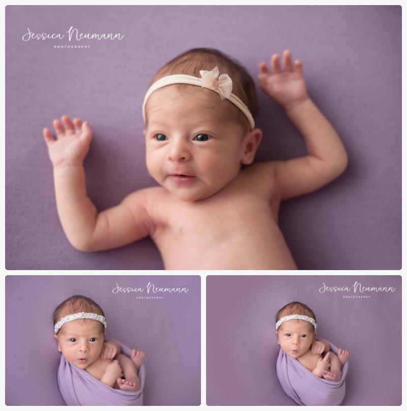 awake newborn on purple