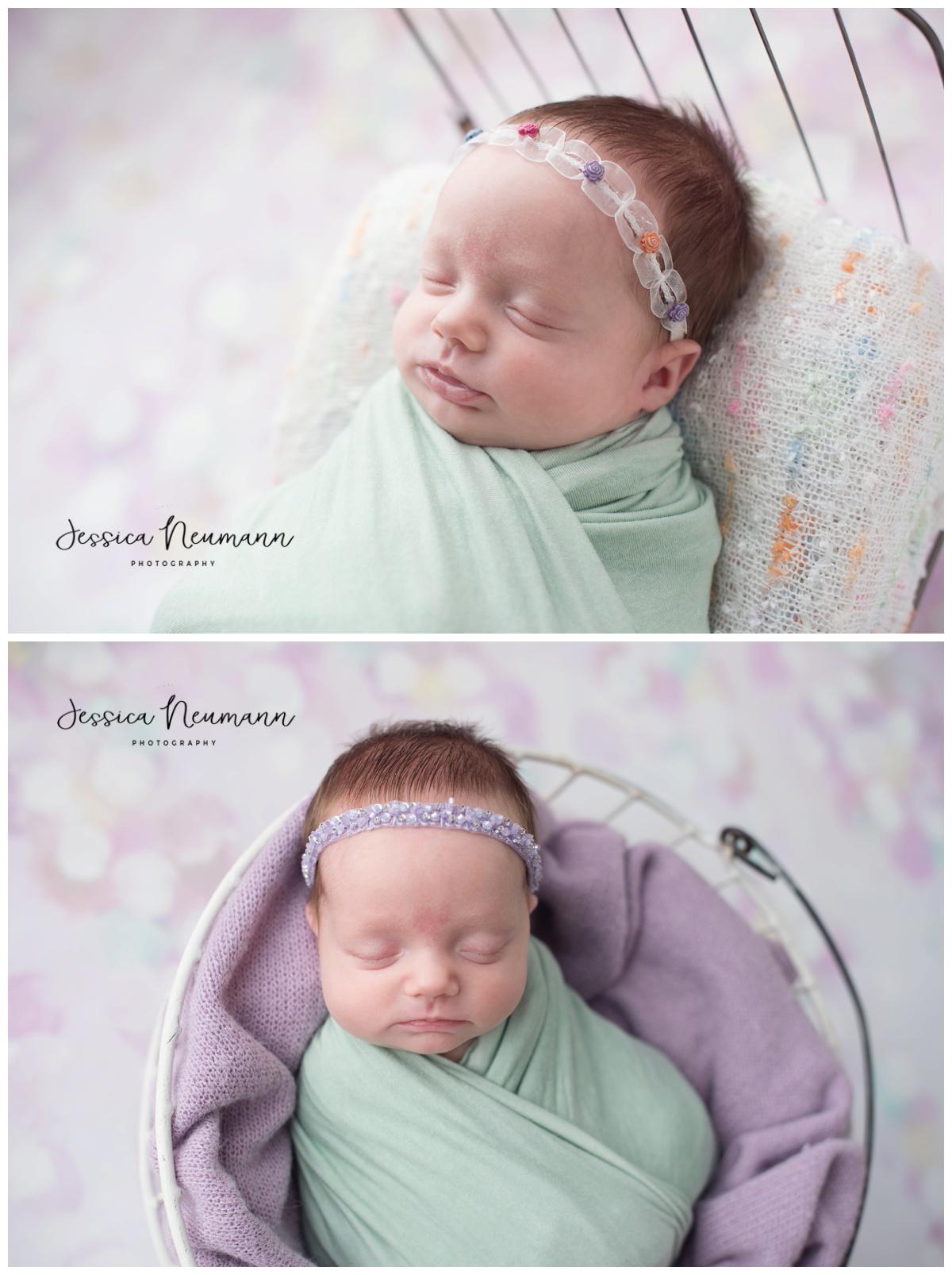 sleeping newborn girl in mint