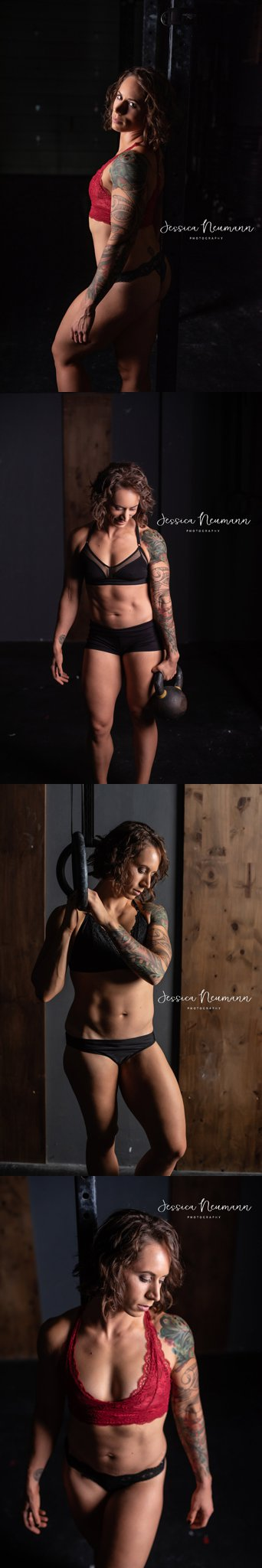 Fitness boudoir photo session in gym in Frederick, MD