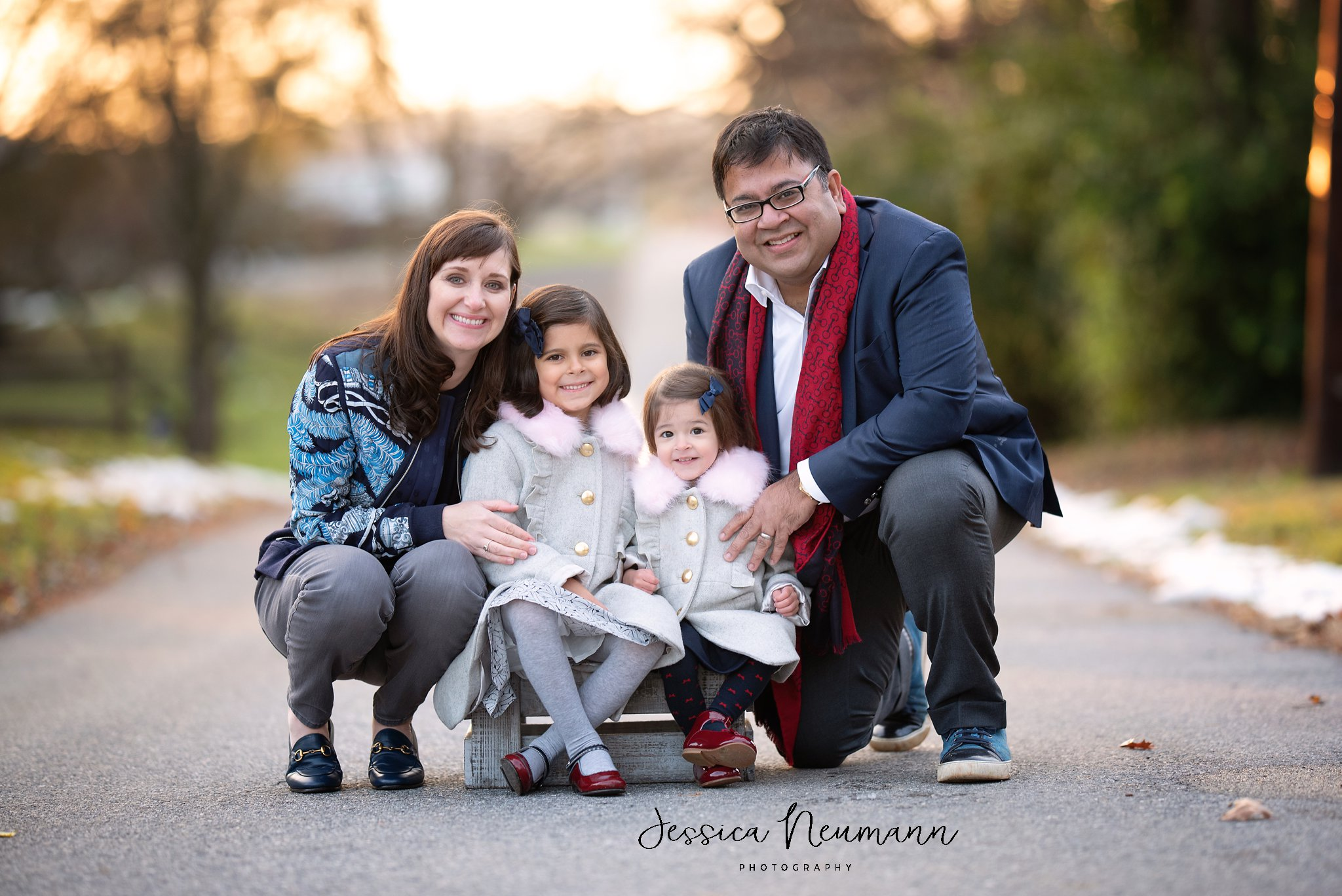 Family of four in the fall in Frederick, Maryland
