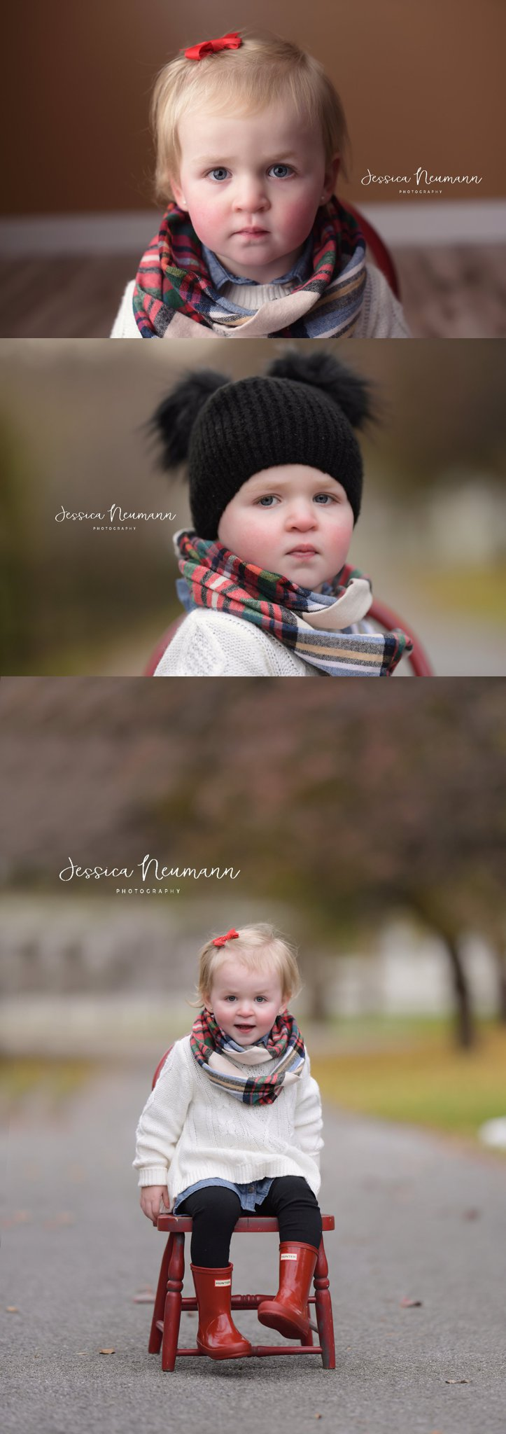 Two year old in photo studio and outside in New Market, Maryland