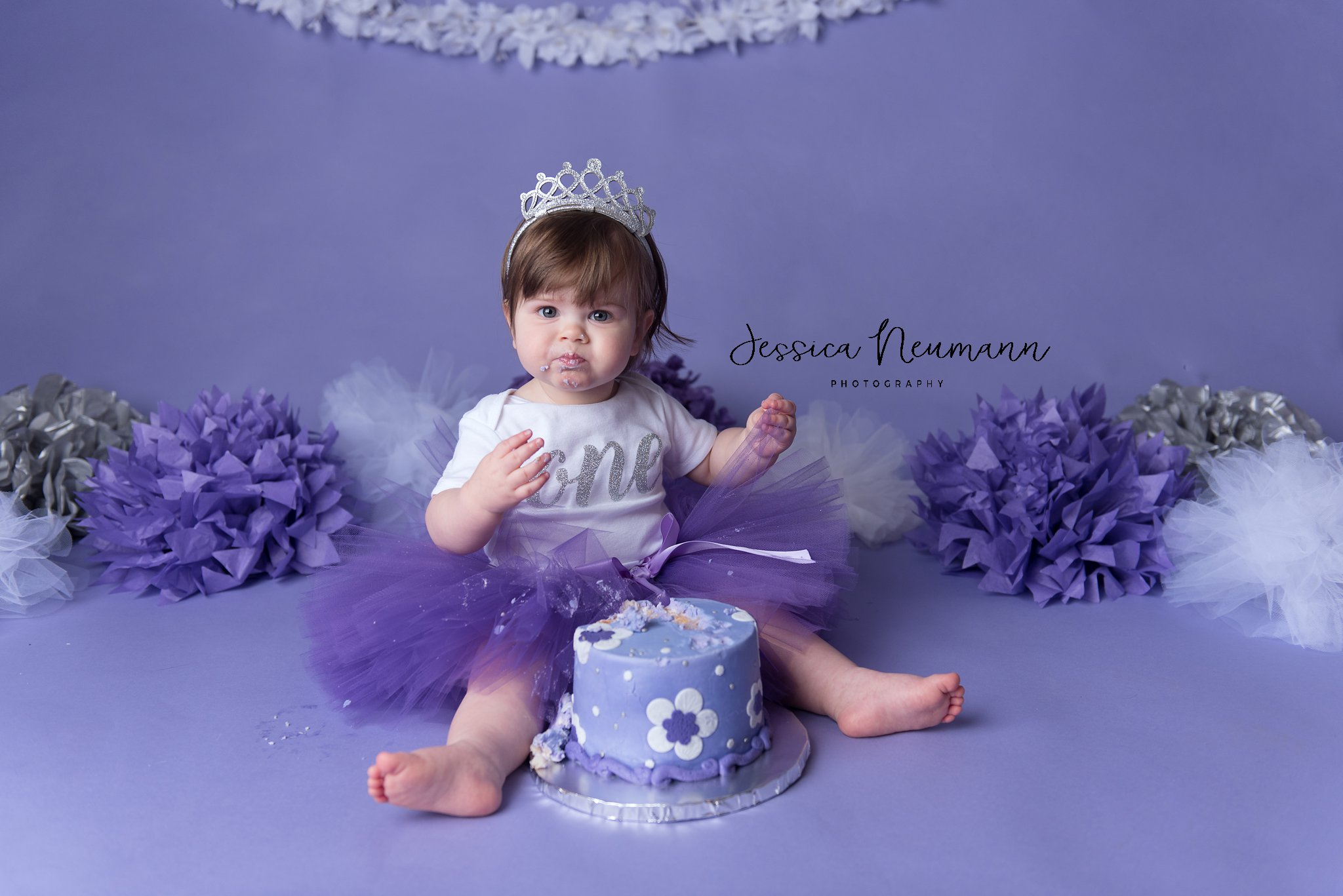 One year old with cake in Frederick, Maryland