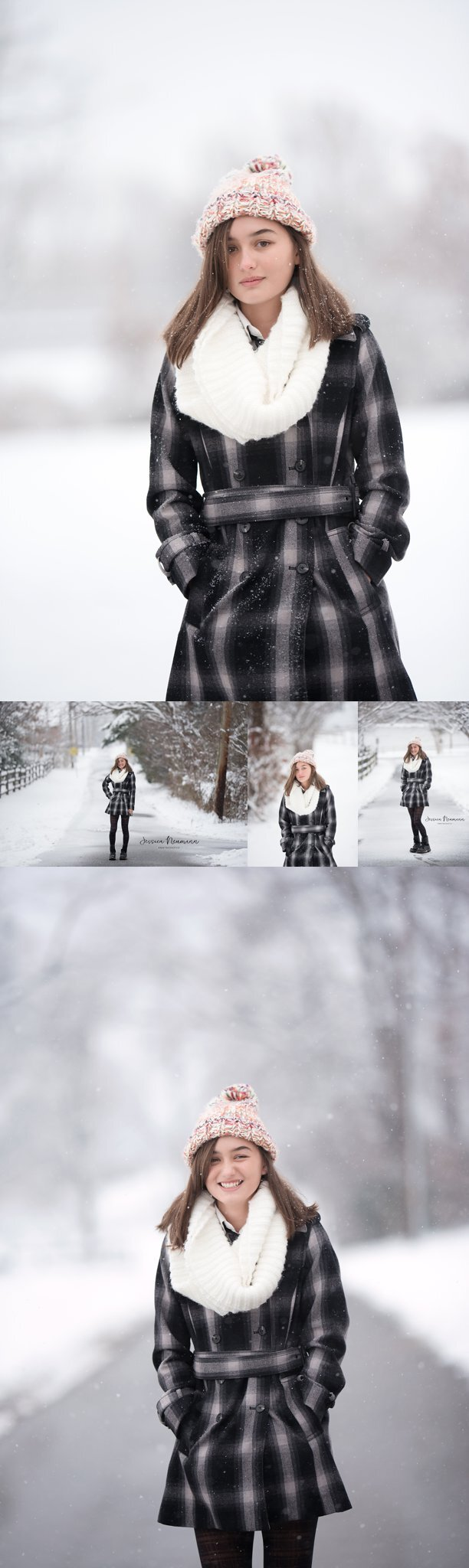 Senior portrait in the snow, Frederick, Maryland