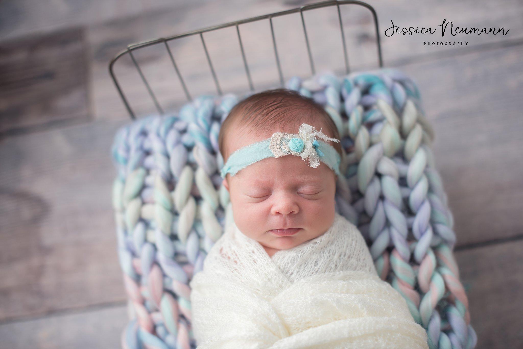 Newborn girl with handmade blanket, New Market, MD