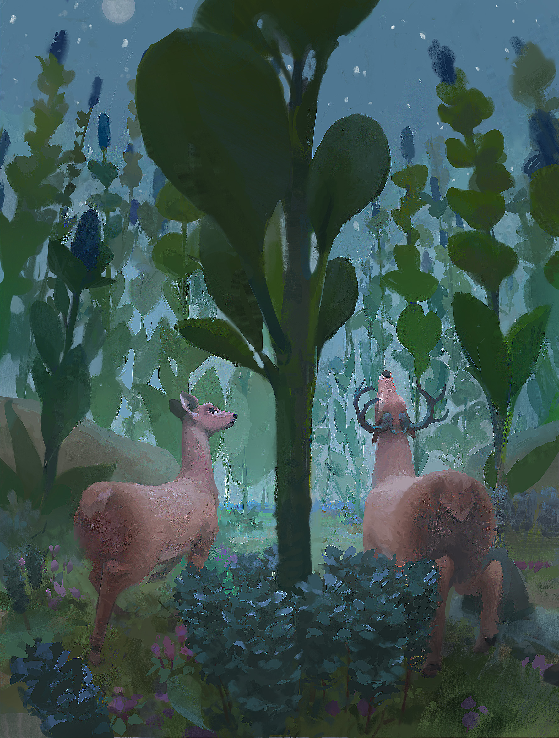 deer with blue plants finished extra scherp .jpg