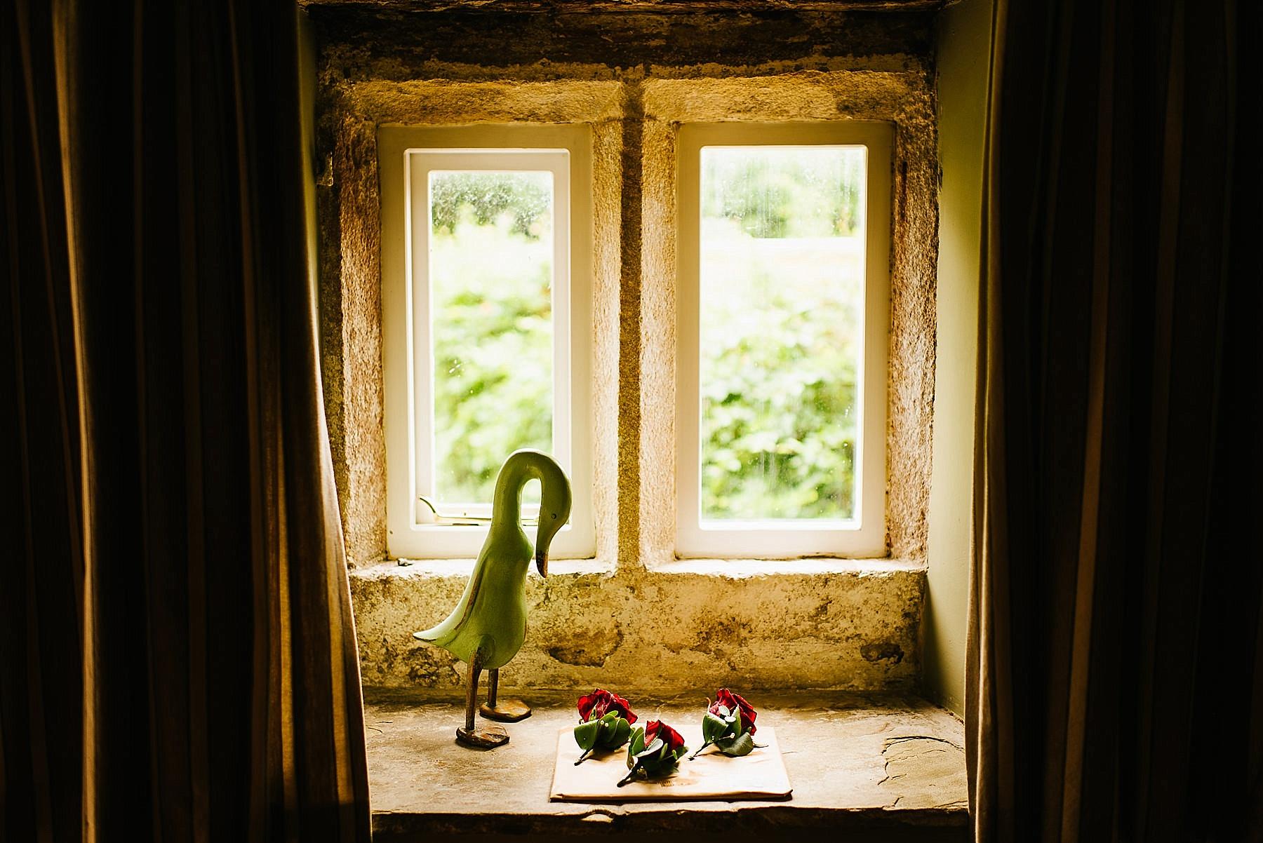 wedding flowers in a window