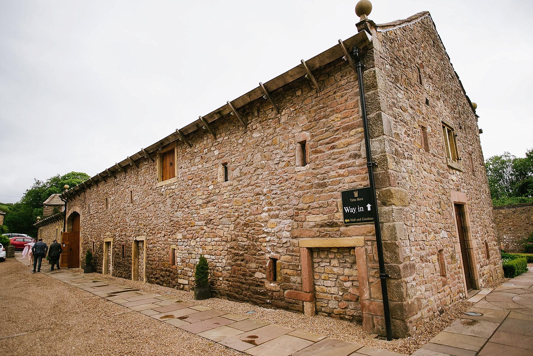 Wide angle photo of Browsholme Hall Tithebarn
