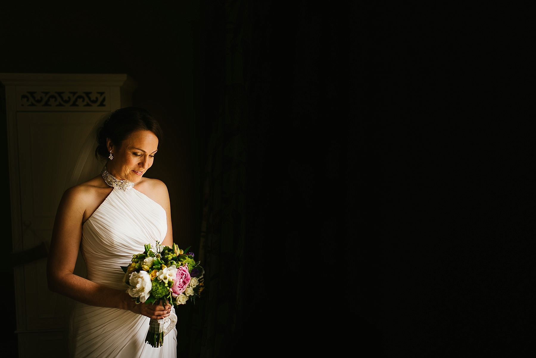 A portrait of the bride at Browsholme Hall