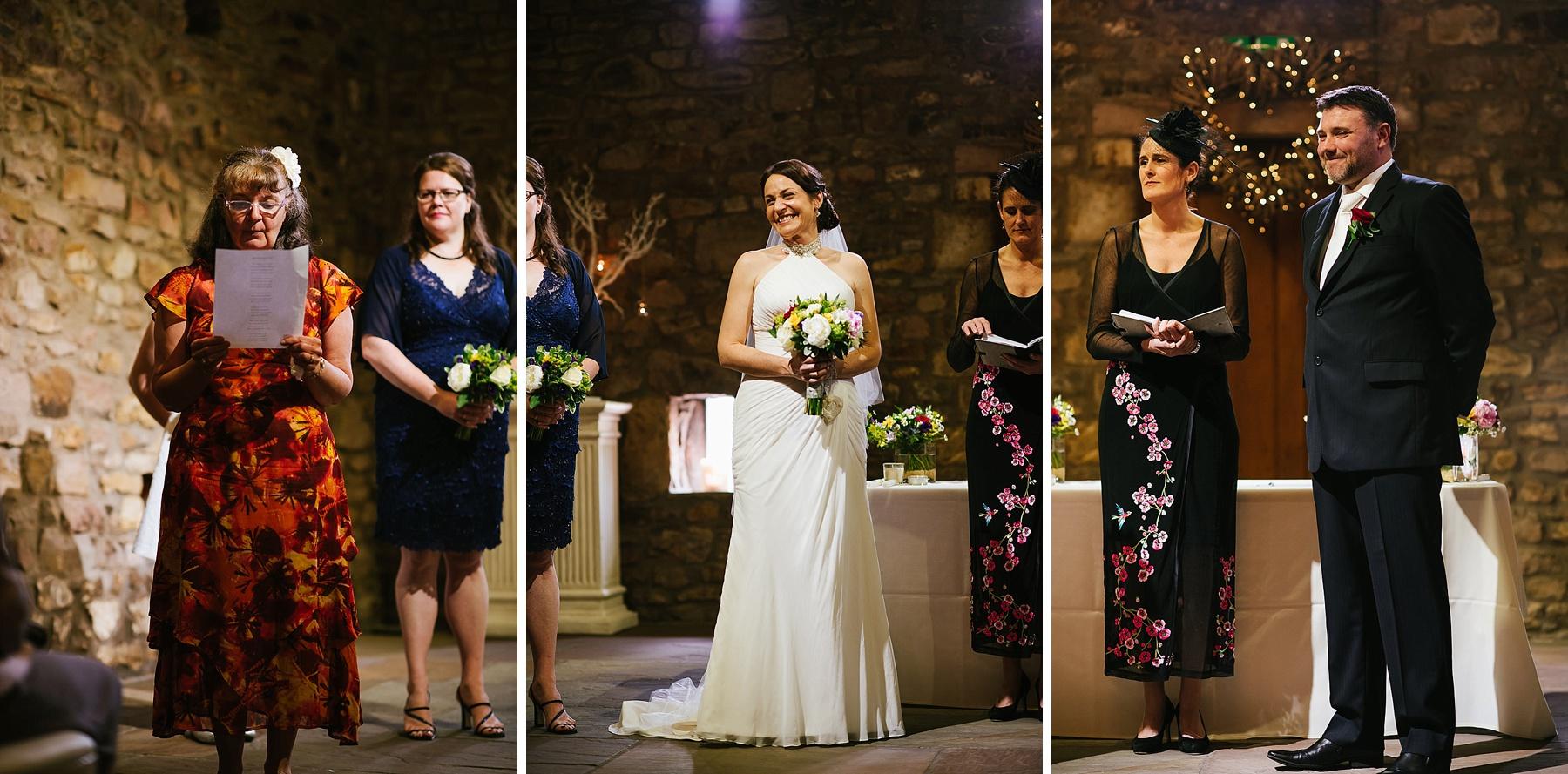triptych of wedding ceremony