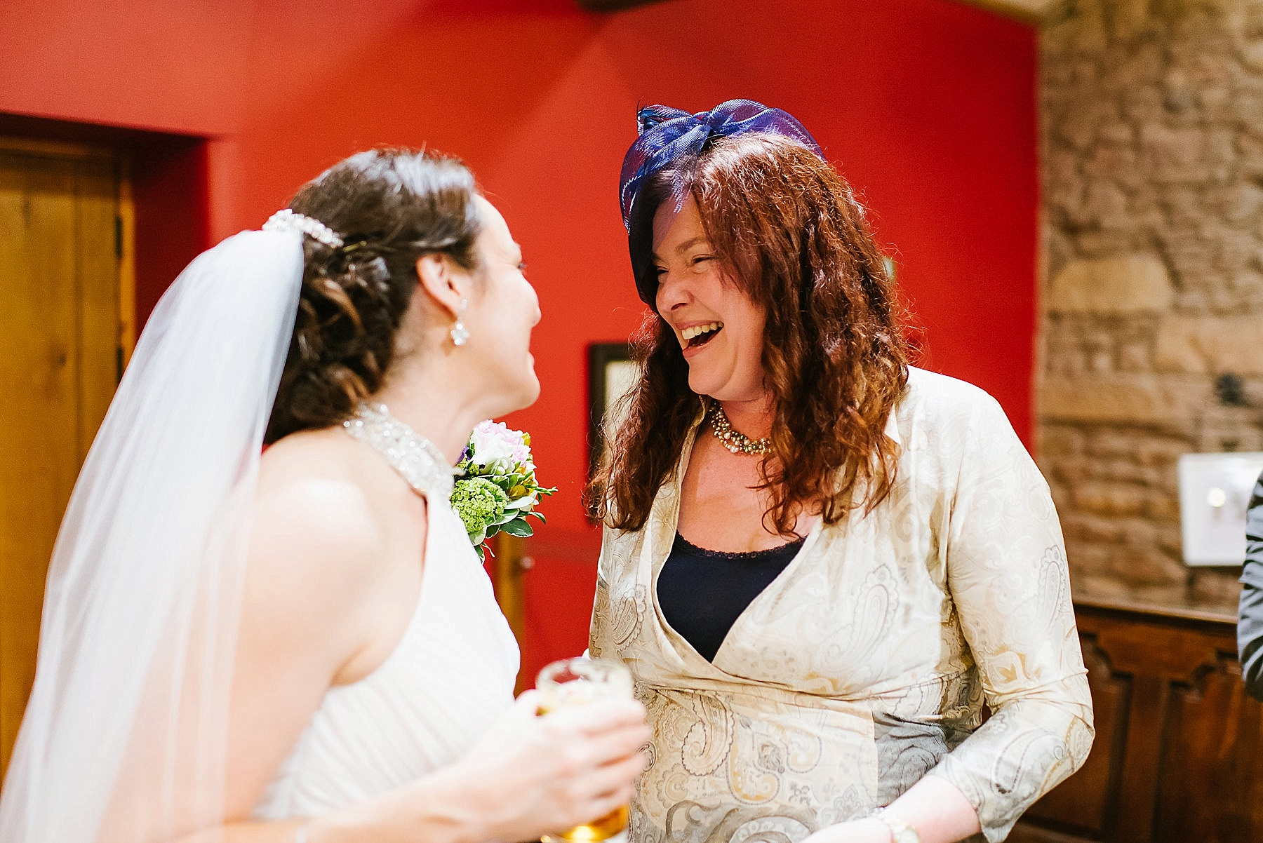 guest having fun with bride