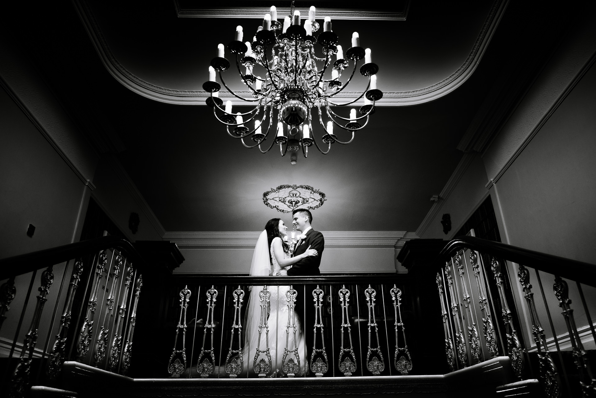 Ashfield House wedding photograph of Tanya and Andy on the staircase