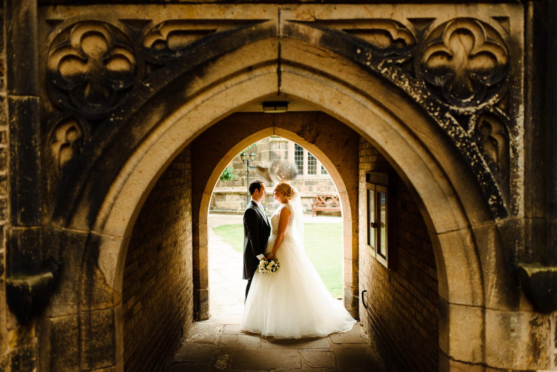 Kate & Fran at Croston church in the wedding attire