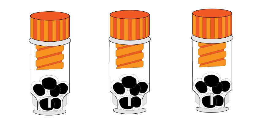 The cells in their vials