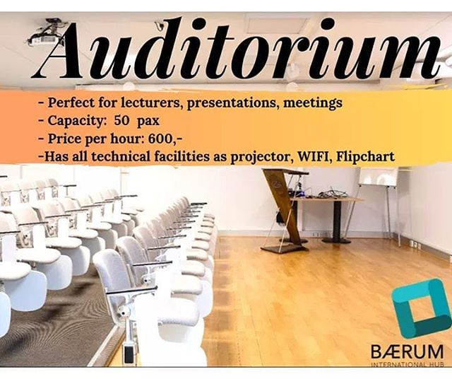 Planning to have a great presentation or an interesting lecture?💡Need a convenient and affordable place?💰 We have a solution for you🤩  Auditorium at Bærum International Hub is spacious and has all facilities you need for your presentation. Bright and cozy!  Located in heart of Høvik, just 20 minutes away from Oslo. Check out our rooms and prices and don't hesitate to contact us📧  https://eventum.no/lokale/barum-international-hub/auditorium  #bih #oih #coworking #businessbærum #coworkinghøvik #auditoruim #lectures #bæruminternationalhub #høviklokaler