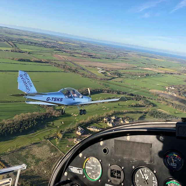 Two of the Purple Aviation aircraft returning from a formation flight over Northumberland #flying #northumberland #morpeth #eshott #airfield #coast #formation #xperience #gift