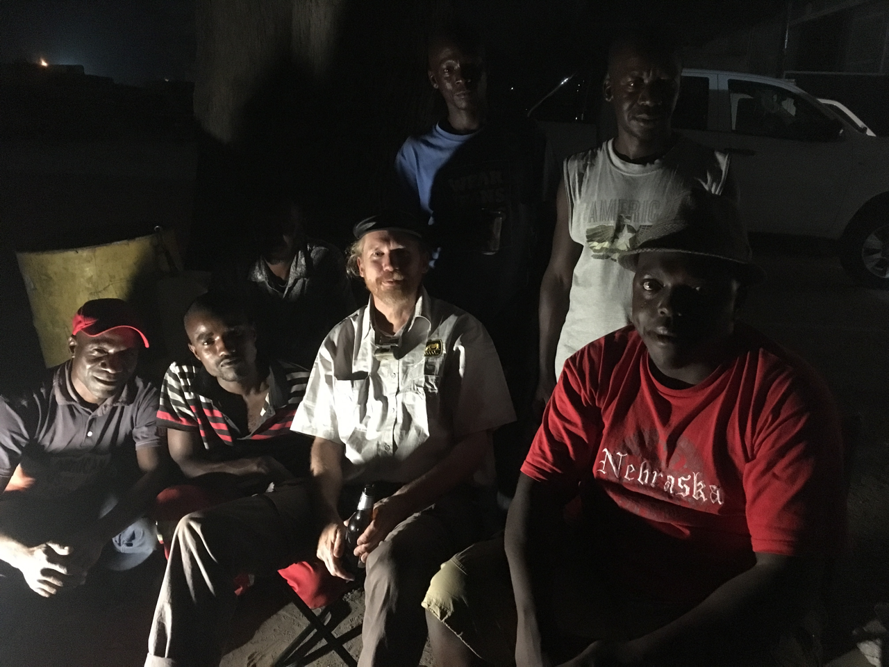 The author with truckers at Wenela border in June 2018