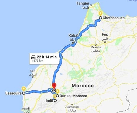 The driving route through Morocco - click for more detail.