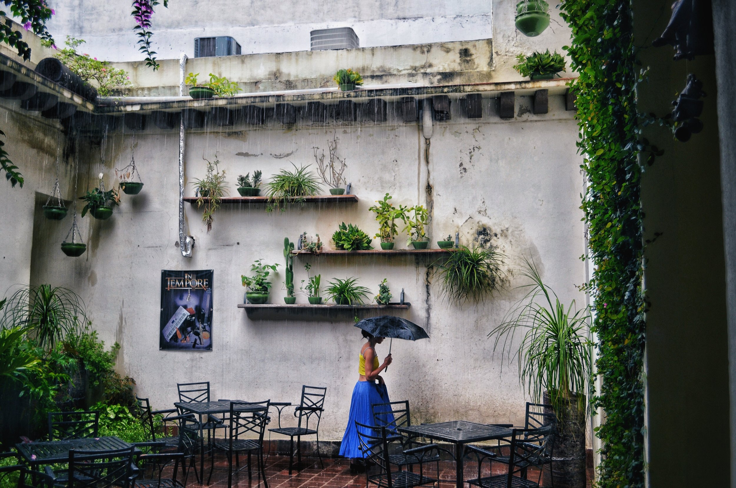 In the rain at Cafe Ciudad, Camaguey, Cuba
