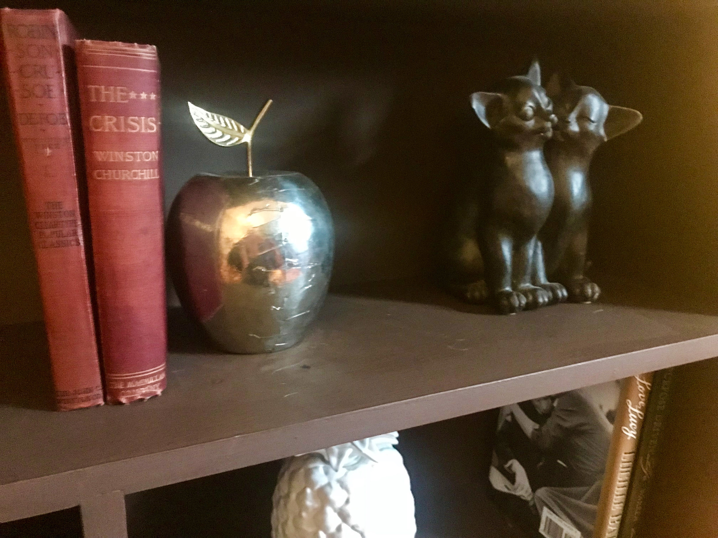 Vintage books with a gold apple from Pier 1 and cat decor (I have some in honor of Ginger) from Wayfair.